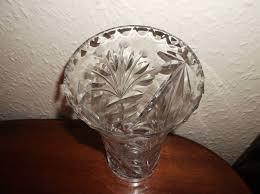 Star Vase Vintage Lead Cut Glass Vase Bevel Rim Star Cut Base 8 5 Etched Berries