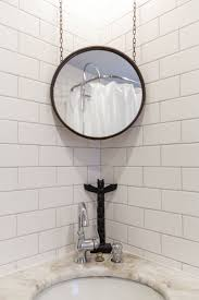ideas subway tile wall design ideas with corner mirror and towel