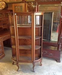 curved glass china cabinet oak curved glass china cabinet paw feet roberts antiques ruby lane