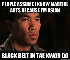 Martial Arts Memes - people assume i know martial arts because i m asian black belt in