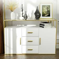 tempered glass shelves for kitchen cabinets mecor kitchen sideboard cabinet tempered glass top buffet storage cabinet with 3 drawers 2 doors and open shelf kitchen dining room furniture console