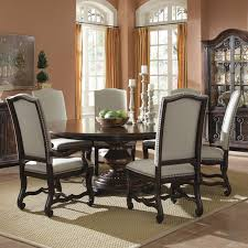 Chair Large Round White Gloss Dining Table And Six Whiteblack - Round kitchen table sets for 6