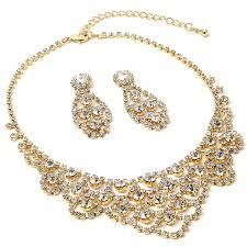rhinestone necklace earrings images Gold crystal rhinestone chandelier drop dangle jpg
