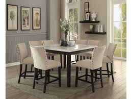 counter height dining room table nolan white marble top counter height dining set shop for