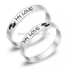 Promise Ring Engagement Ring And Wedding Ring Set by Engraved Titanium Anniversary Promise Rings For Him And Her