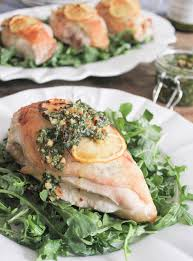 Chicken Breast Recipes For A Dinner Party - goat cheese stuffed chicken with rustic basil pesto