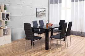 6 Black Dining Chairs Pivero High Gloss Black Dining Set Furniturebox