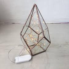 geometric glass terrarium u0026 fairy lights separate home