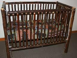 hickory log baby crib standard u2014 barn wood furniture rustic