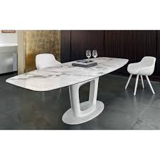 White Marble Dining Tables Orbital Cs 4064 Ceramic White Marble Top Extendable Dining Table