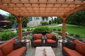outdoor sitting area patio design with pergola and fireplace sponzilli landscape group