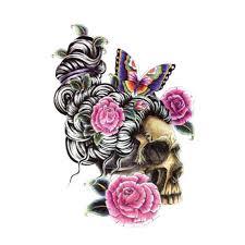 3d flower skull tattoos for leg tattoos 2 in one