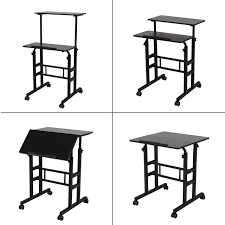sdadi mobile stand up desk height adjustable home office desk with