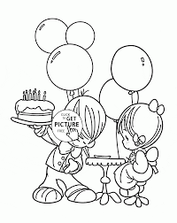 cute kids on a birthday card coloring page for kids holiday