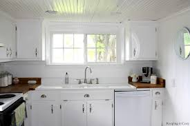 Diy White Kitchen Cabinets by Remodelaholic Country Kitchen With Diy Reclaimed Wood Countertop