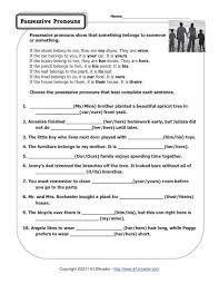 ideas of possessive pronouns worksheets in worksheet