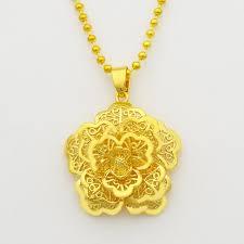 gold phalaenopsis mandala indian flower pendant necklace