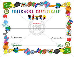 preschool certificates amazing preschool certificates for your kids 123certifcate