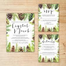 Christmas Invitation Cards Template Christmas Winter Pine Cone Greenery Wedding Invitation Suite Set