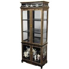 Phone Booth Bookcase Oriental Furniture Black Mother Of Pearl Ladies Lacquer Curio