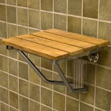 solid teak slats and stainless steel wall hung shower seat