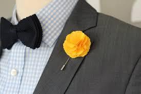 lapel flower yellow carnation linen lapel flower mens boutonniere lapel