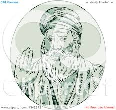 clipart of a retro sketched sikh guru nanak ji priest waving in a