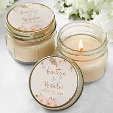 personalized jar candle wedding favors modern floral