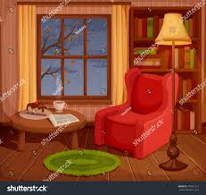 vector illustration cozy autumn living room stock vector 472871551 vector illustration of a cozy autumn living room with armchair bookcase lamp and rain