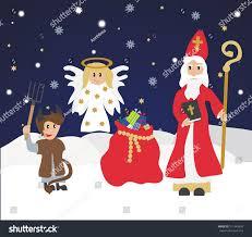 Christmas Invitation Card Cute St Nicholas Devil Angelchristmas Invitation Stock Vector