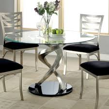 Furniture Of America Sculpture I Contemporary Glass Top Round - Glass round dining room tables
