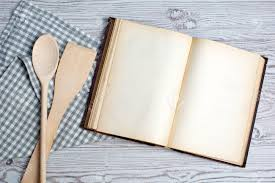 vieux livre de cuisine cooking concept ingredients and kitchen tools with the blank