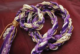 celtic handfasting cords handfasting cord in purple gold and with velvet ribbon