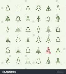 thin line pine tree icon set stock vector 332137799 shutterstock