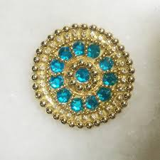 blue gold beaded indian applique moti beads handwork indian patch