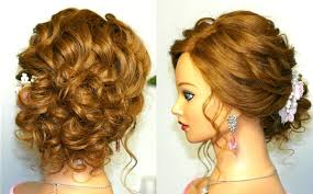 prom hairstyles for medium hair prom wedding hairstyle curly updo for long medium hair tutorial