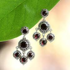 Garnet Chandelier Earrings Sterling Silver And Garnet Chandelier Earrings Blessing Novica