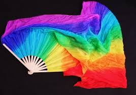 silk fan rainbow silk fan