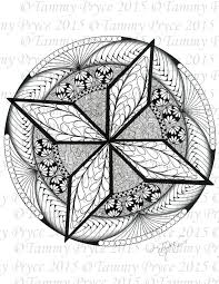 hand drawn star mandala coloring page digi stamp instant