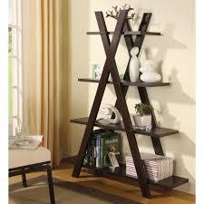 coaster 4 drawer ladder style bookcase coaster furniture x shaped bookcase hayneedle
