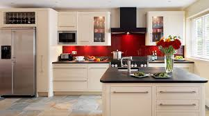 harvey jones linear kitchen with red glass splashback like the