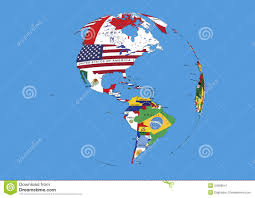 North America World Map by West Hemisphere North South America World Globe Flags Map Stock