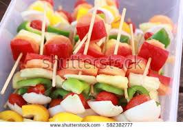 plastic fruit skewers fruit kabobs stock images royalty free images vectors