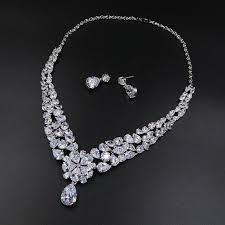 zircon necklace set images Bridal wedding jewelry set aaa cubic zircon crown tiara earrings jpg