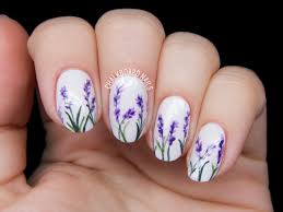 delicate lavender blossoms so cute for firefly festival nails