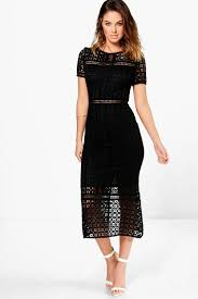boo hoo clothing boutique odette crochet midi dress boohoo