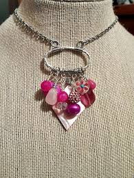 beaded charm necklace images Shades of pink beaded charm trinket necklace stainless steel chain jpg