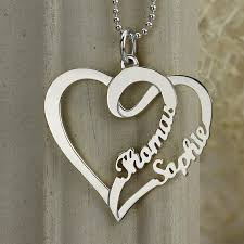 silver jewellery name necklace images Couple 39 s name necklace personalized heart pendant necklace jpg