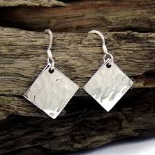 thailand earrings handmade hammer texture tilted square 925 silver earrings