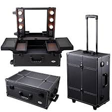 rolling makeup case with lighted mirror amazon com aw black rolling studio makeup artist pvc cosmetic